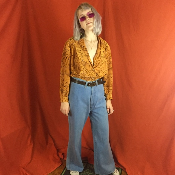 Atlantic City Talk of the Walk Vintage 1970s1980s Orange Animal Print Tank and Blouse Set